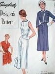 1950s STYLISH Slim Dress and Shortie Jacket Pattern SIMPLICITY DESIGNERS 8273 Two Bodice Styles Peter Pan Collar  Day or After 5 Vintage Sewing Pattern