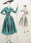 1950s LOVELY DRESS PATTERN V NECKLINE VOGUE SPECIAL DESIGN PATTERNS 4278