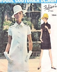1960s Slim Fabiani Dress Pattern Vogue Couturier Design 1866 Front Button Opening Epaulettes and Stand Up Collar Bust 34 Vintage Sewing Pattern