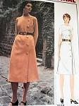 1970s MOLYNEUX SIDE BUTTON DRESS PATTERN 2 NECKLINES VOGUE PARIS ORIGINAL 2528 Vintage Sewing Pattern