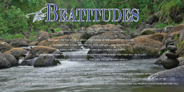 Church Banner featuring Stream with Beatitudes Theme