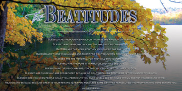 Church Banner featuring Fall at Lake with Beatitudes Theme