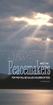 Church Banner featuring Clouds/Sunlight/Water with Peacemakers from Beatitudes