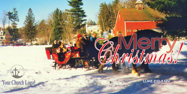 Church Banner featuring Horse Drawn Sleigh with Merry Christmas - CUSTOMIZE FREE