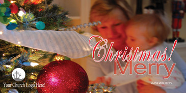 Church Banner featuring Woman and Child Near Tree with Merry Christmas Theme