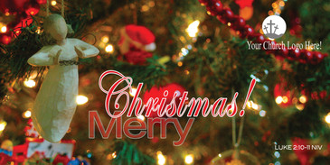 Church Banner featuring Angel on Tree with Merry Christmas Message - CUSTOMIZE