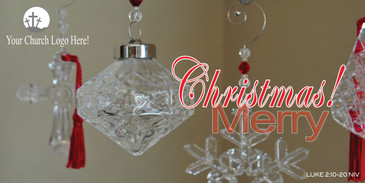 Church Banner featuring Crystal Ornaments and Christmas Theme - Customize FREE