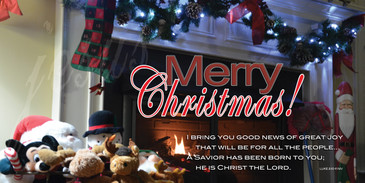 Church Banner featuring Fireplace and Mantle with Merry Christmas Theme