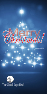 Church Banner featuring Modern Christmas Tree Lights with Merry Christmas Theme