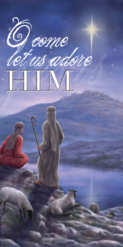 Church Banner featuring O Come Let Us Adore Him Christmas Theme