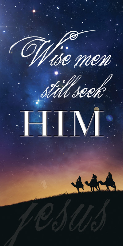 Church Banner featuring Three Wise Men Following Star with Christmas Theme