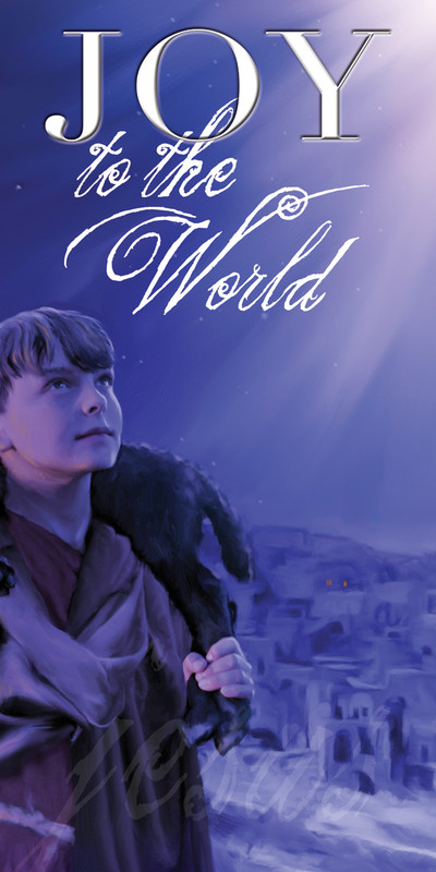 Church Banner featuring Young Boy Holding Lamb with Christmas Theme