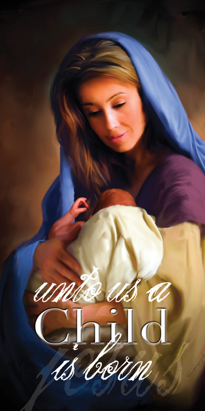 Church Banner featuring Mary Holding Jesus with Christmas Theme