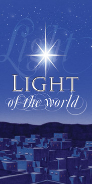 Church Banner featuring Bethlehem with Light of the World Christmas Theme