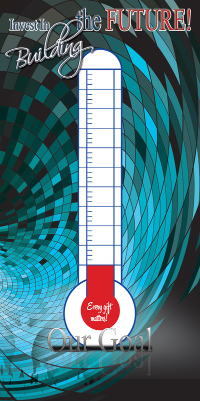 Church Banner featuring Thermometer for Fund Raising Promotion - Customizable