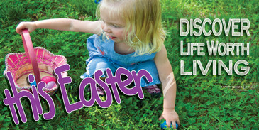 Church Banner featuring Young Girl Searching for Easter Eggs with Easter Theme