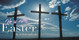 Church Banner featuring Three Crosses with He Is Risen Easter Theme