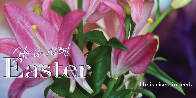 Church Banner featuring Lilly with He Is Risen Easter Theme