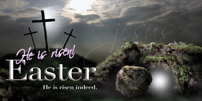 Church Banner featuring Golgotha and Empty Tomb with He Is Risen Easter Theme