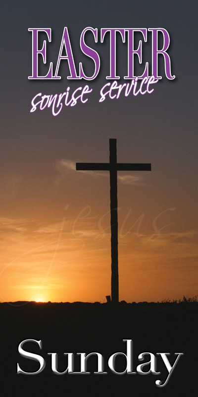 Church Banner featuring Cross at Sunset with Easter Service Theme