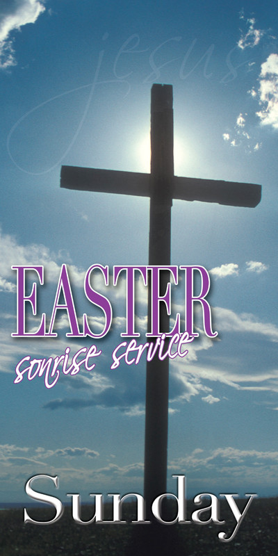Church Banner featuring Cross with Easter Sunrise Service Theme