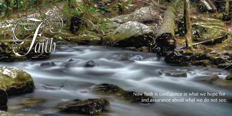 Church Banner featuring Calm Stream with Faith Theme