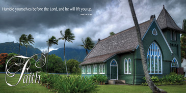 Church Banner featuring Waioli Huiia Church on Kauai with Faith Theme