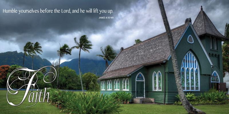 Church Banner featuring Waioli Huiia Church on Kauai with Faith Theme