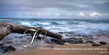 Church Banner featuring Surrealistic Ocean Scene with Faith Theme