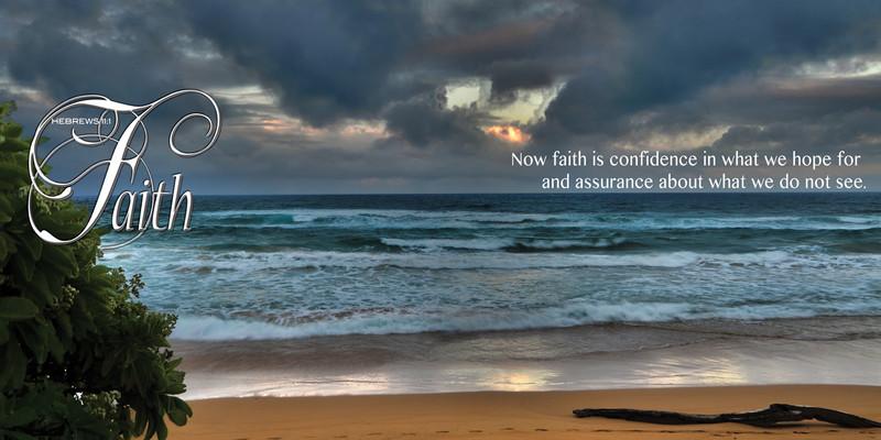 Church Banner featuring Ocean Sunset with Faith Theme
