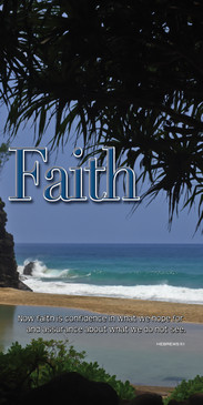 Church Banner featuring Palm Trees/Beach/Ocean with Faith Theme