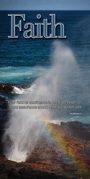 Church Banner featuring Rainbow/Ocean/Blowhole with Faith Theme