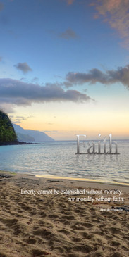 Church Banner featuring Ke`e Beach with Calm Waters and Faith Theme