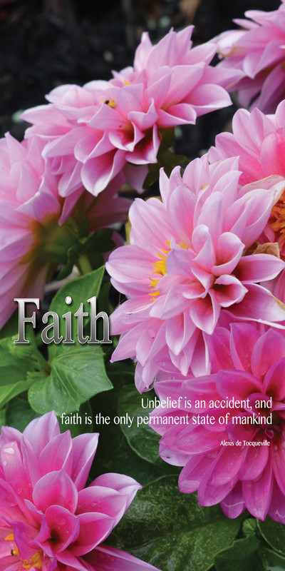 Church Banner featuring Pink Flowers with Faith Theme