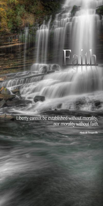 Church Banner featuring Misty Waterfall with Faith Theme