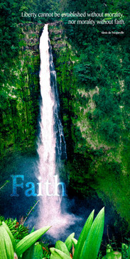 Church Banner featuring Towering Waterfall with Faith Theme