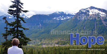 Church Banner featuring Hiker Overlooking Valley with Hope Theme