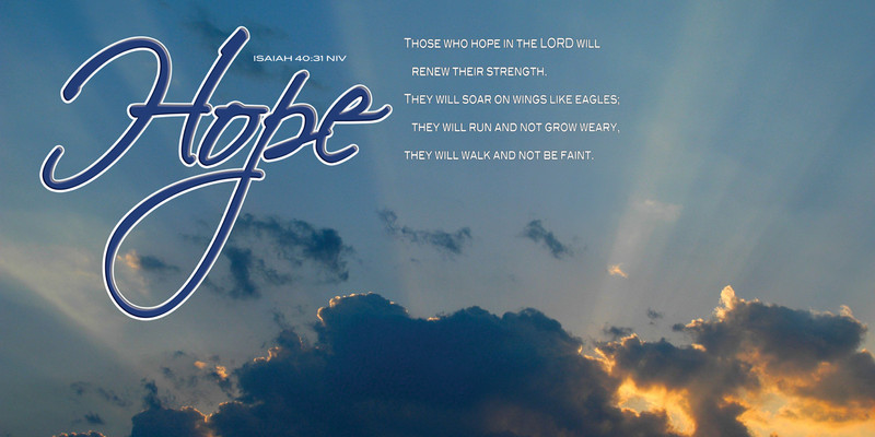 Church Banner featuring Sun Rays Breaking Through Clouds with Hope Theme