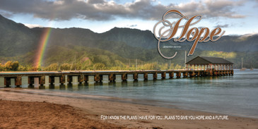 Church Banner featuring Rainbow/Hanalei Bay with Hope Theme