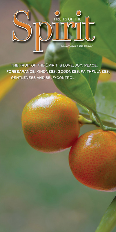 Church Banner featuring Oranges on Tree with Fruits of the Spirit Theme