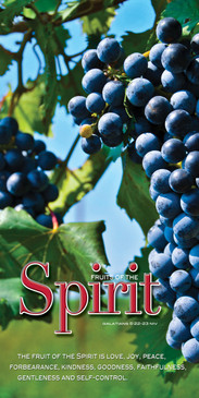 Church Banner featuring Grapes on Vine with Fruits of the Spirit Theme