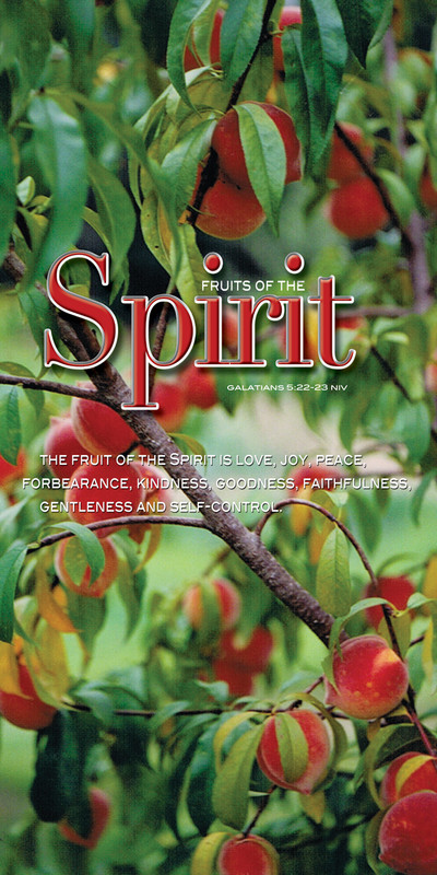 Church Banner featuring Ripe Peaches on Tree with Fruits of the Spirit Theme
