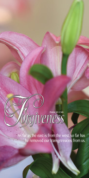 Church Banner featuring Pink Tulips with Forgiveness Theme
