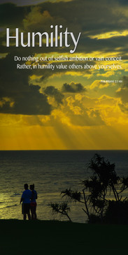 Church Banner featuring Couple/Sun Rays/Ocean with Humility Theme