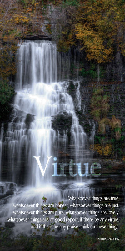 Church Banner featuring Waterfall with Virtue Theme