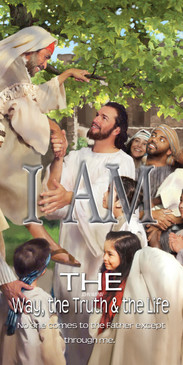 Church Banner featuring Jesus/ People with I Am the Way, Truth & Life Theme