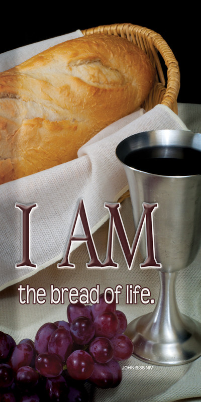 Church Banner featuring Bread Loaf/Wine with I Am the Bread of Life Theme