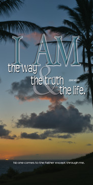 Church Banner featuring Tropical Sunset with I Am the Way, Truth & Life Theme