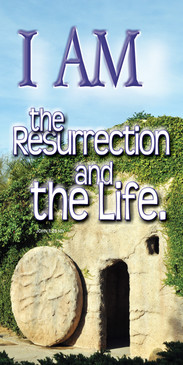 Church Banner featuring Stone Rolled Away from Tomb with I Am Theme