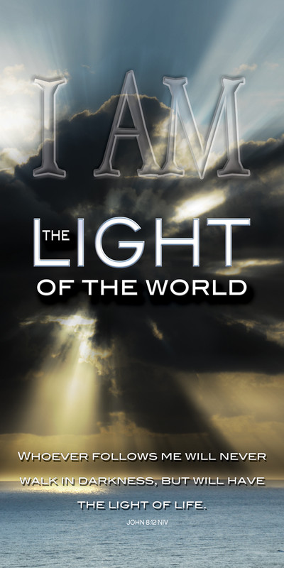 Church Banner featuring Ocean/Sun Rays with I Am the Light of the World Theme